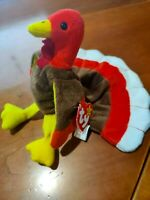 MINT 1996 Ty Beanie Baby Gobbles Turkey, great tag, rare errors! BLOWOUT PRICE!