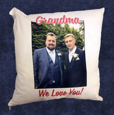"Personalised/Printed Photo & Text Cushion/Pillow. 16 x 16""/40 x 40 cm Home Gift"