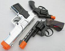 3x Toy Guns Military Detective Silver 9MM Pistol .357 Revolver Cap Guns Set