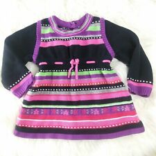First impressions dress sweater knit stripes bright button long sleeve dress 12M