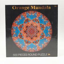 Orange Mandala 500 Piece Jigsaw Puzzle Round New & Sealed