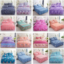 Retro Floral Printed Ruffled Elastic Bed Skirt Bedspread +Pillowcases Queen King