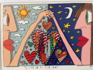 James Rizzi: Original Werk LOVE IS IN THE AIR, handsigniert, gerahmt