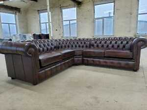 Chesterfield  UK Stocked 7-14 days del Corner Sofa Hard Wearing Real Leather Tan
