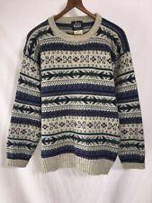 Vintage Men's Woolrich Fair Isle Norwegian Wool Pullover Crew Neck Sweater M EUC