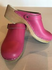Girl's HANNA ANDERSON Swedish Leather  Clogs Wooden Mules Shoe Sz 36 4