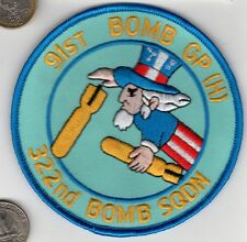 US Army Air Corps Air Force 91 BOMB GP 322 Squadron Patch WWII Veteran Uncle Sam