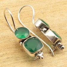 GREEN ONYX Gemstone Earrings ! 925 Silver Plated 1 Inch PIERCED Jewelry