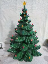 "Vintage Large 24"" Atlantic Mold Ceramic Christmas Tree w/ Base & Music Box AS IS"