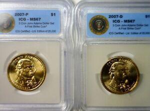 2007 pd 1st STRIKE ICG MS67 J Adams Presidential $1 Dollar BU 2 Coin SLAB LOT NR