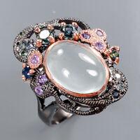 Aquamarine Ring Silver 925 Sterling Handmade Fine Art Size 8.75 /R136408