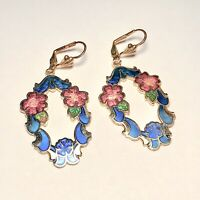 Vintage Cloisonne Enamel Floral Dangle Earrings