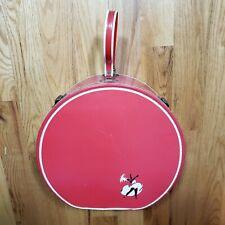 Vintage Travel Red Vinyl Round Hat Box