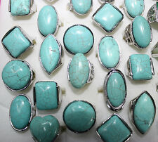 New Wholesale lots 25pcs turquoise stone Silver P Charm rings Big Lady Jewellery