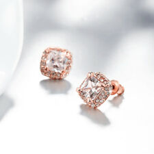 Classic 18K Rose Gold Filled Clear Cubic Zirconia Square Stud Earrings