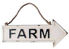 "White Metal Arrow FARM Sign w/ Rope Hanger Farmhouse Country Home Decor 29"" NEW"