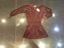 NWT Juicy Couture New & Genuine Girls Age 8 Brown Velour Dress With Long Sleeves