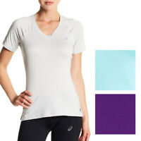 Asics NEW Solid Hue Women's V-Neck Performance ASX Dry T-Shirt Top $38