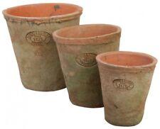 Aged Terracotta Blumentopf 3er Set Übertopf Umtopf rund