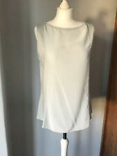 Lovely Silk/ Cotton Sleeveless Party Top In Silver Grey By Jigsaw Size M ( 12)