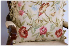 "18"" PAIR! Shabby French Chic BIRDS Aubusson Pillow Cover Cottage Cream Pink Rose"