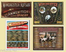 LOT Winchester Remington Bullet Board Rifle TIN SIGNS rustic hunting cabin decor