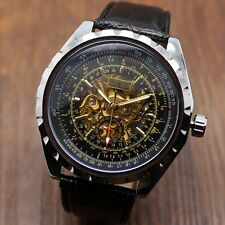 Jaragar Mechanical Skeleton Mens Military Luxury Wrist Watch Leather Band Gift