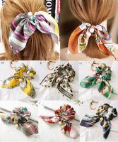 Women's Bowknot Silk Hair Scrunchies Pearls Ponytail Holder Hair Tie Hair Rope