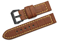 24mm Brown Genuine Cow Leather Watch Band PVD Clasp Strap For Panerai Wristband