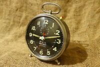 Wehrle Alarm Clock Commander Repeat Wind-Up Clock  Made In Germany Excellent #63