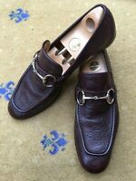 Gucci Mens Shoes Brown Leather Horsebit Loafers UK 9.5 US 10.5 EU 43.5 Embossed