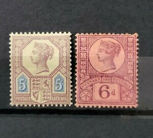 GB QUEEN VICTORIA 2X JUBILEE ISSUE STAMPS M/MINT