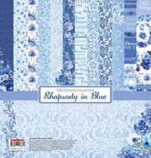Scrapbooking Papierset Rhapsody in Blue 8 Blatt Papier 30,48 x30,48 cm blau