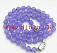 """Long 36"""" 6mm Lavender Jade Round Gemstone Beads Necklace AAA"""
