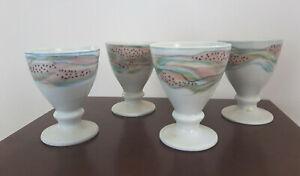 Vintage set of 4 studio pottery goblets