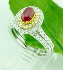1.63 ct 18k 2 Tone Gold Ladies Natural Oval Ruby & Diamond Engagement Ring Set
