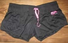 Muscle Pharm Women's Running Shorts, Black, Pink Tie, Zip Pocket, Size L, NEW
