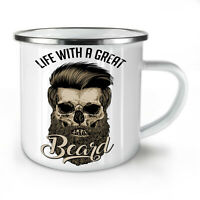 Life With Beard Skull NEW Enamel Tea Mug 10 oz | Wellcoda
