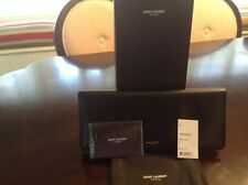 YSL Saint Laurent Marquage Leather Document Clutch Case Black
