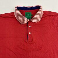Southern Tide Polo Shirt Men's 2XL XXL Short Sleeve Red High Low Hem Pima Cotton