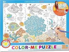 Jigsaw Puzzle Color Me Aquarium 100 pieces NEW Paint it Yourself Stress Relief