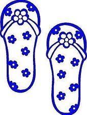 FLIP FLOPS w/ Flowers Beach Decal Sticker Shoes *AWESOME DECAL* for car window