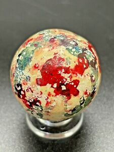 Bennington Marble RARE UV ACTIVE Handmade Clay Marble Confetti  Marble 1.063