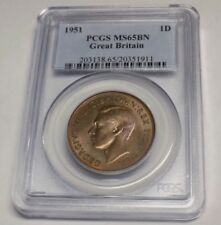 1951 GREAT BRITAIN PENNY UK PCGS MS65BN MS 65 Uncirculated Grade Certified Coin