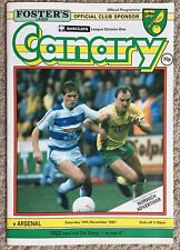 NORWICH CITY v ARSENAL - DIVISION 1, 14.11.87, FOOTBALL PROGRAMME