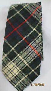 Mackenzie Dress Tartan Wool Tie Necktie Black Green Red White Plaid