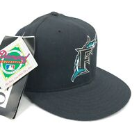 Vintage Florida Marlins New Era 5950 Fitted Wool Hat Black Silver F Teal Logo