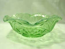 Fenton Green Water Lily & Cattails Opalescent Bowl