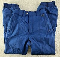 Skillque blue womens ski pants SIZE M long inseam high waisted (B1)