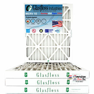Glasfloss 20x36x2 - MERV 10 - (Qty:4) - Pleated  Air Furnace Filter Made in USA